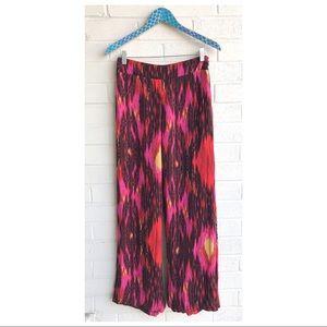 Haute Hippie Silk Boho Ikat Print Wide Leg Pants